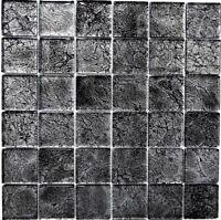 Glasmosaik uni schwarz Struktur Fliesenspiegel Küche Art: 126-8BL27 | 10 Matten