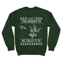 Jolly Yoda Ugly Christmas Sweater Funny Xmas Forest Green Crewneck Sweatshirt