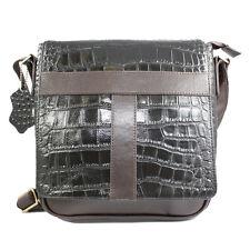 Genuine Leather Messenger Bag Shoulder Bag Crocodile-Embossed