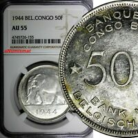 Belgian Congo Leopold III Silver 1944 50 Francs Elephant NGC AU55 SCARCE KM# 27