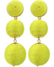 3-Tiers Of Threaded Ball Yellow Silky Sheen Dangle Drop Statement Earring Set