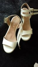 Kurt Geiger Carvela White Wedge Sandals With Ankle Strap Size 4 (37)
