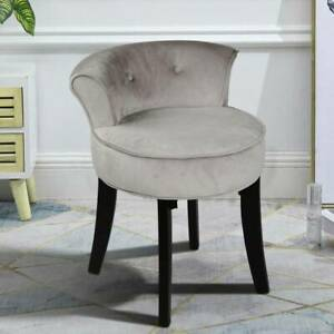 Fabric Upholstered Vanity Stool Low Back Bedroom Makeup Dressing Table Chair UK