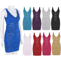 Women Sexy Dress Sleeveless V-neck Slim Sequin Bodycon Slit Dress Party Clubwear