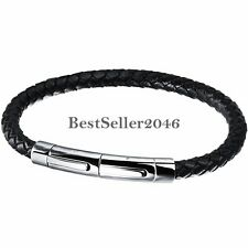 5mm Men's Black Braided Leather Stainless Steel Silver Wristband Bracelet 8.1""