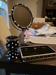 Black ceramic polkadot personal mirror, toothbrush set, and tray for bathroom