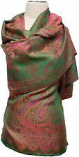 Seidenschal Grün Orange Pink 100% Seide silk soie scarf stole  écharpe Paisley