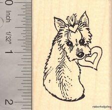 Yorkie Love Rubber Stamp, Yorkshire Terrier Valentine's Day  G15910 WM