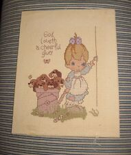 Precious Moments God Loveth a Cheerful Giver Puppies Cross Stich 8 X 10