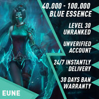 🌪 EUNE League of Legends LOL Account 40.000 - 90.000 BE Unranked Smurf Level 30