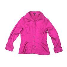 ESCADA Womens Size 38 Fuchsia Silk Blouse Button Front Long Sleeve Cuff Pin Tuck