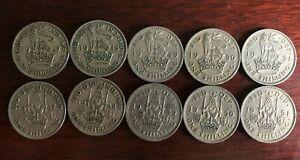 10 x King George VI English & Scottish Shilling Coins 1947-1951