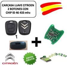 LLAVE CARCASA Citroen C1 C2 C3 C4 C5 xsara MANDO 2 BOTONES HDI CHIP ID46 433 MHZ