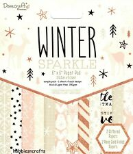 WINTER SPARKLE Dovecraft Rosegold 6 x 6 Sample Paper Pack - 12 Sheets 150gsm