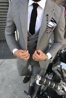 Slim Fit Herrenanzug Schwarz Weiß mit Weste -Anzug-Hochzeit-Bühne-Sakko-Smoking