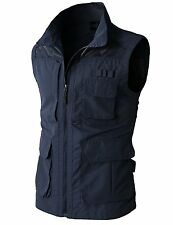 Mens Casual Work Utility Travels Sports Vest, Multiple Pockets, Navy, Large