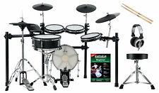 Top E-Drum Set mit Mesh Heads, 2 Holzkessel, Rack, Hocker, Kopfhörer und Sticks