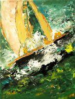 PEINTURE TABLEAU marine bateaux course à la voile toile signée TINOCO coté AKOUN