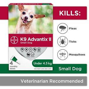K9 Advantix II - Flea and Tick drops for Small Dogs under 4.5kg(10lb) - 4 Doses