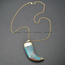 Blue Ocean Jasper Horn Shape Pendant Chains Necklace Fashion Jewelry Gift