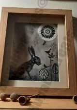The Rabbit and the black birds - art  one off art signed  contemporary original
