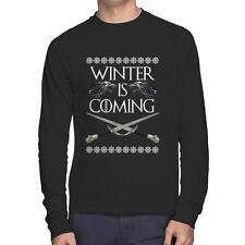 Winter Is Coming Swords T-Shirt Game of Thrones Ugly Sweater Long Sleeve Tee New