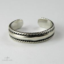 Solid 925 Sterling Silver Toe Ring Band with Rope Twist Edges New with Gift Bag