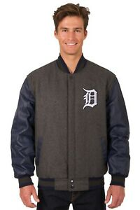 MLB Detroit Tigers Wool & Leather Reversible Jacket with Embroidered  Logos