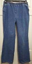 Womens Elastic Waist Blue Jeans size 12 Petite by CHIC Medium Wash Straight Leg