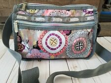 LeSportsac Gray Floral Medallion Crossbody Bag Purse