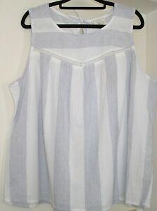 NWT LADIES FAT FACE SIZE 18 WHITE & BLUE STRIPE SLEEVELESS COTTON TUNIC