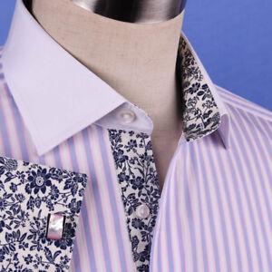 Pastel Multi-Colored Striped Dress Shirt White Poplin Contrast Cuff Business Top