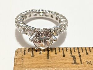 CRISLU SIZE 7 SOLITAIRE CZ BAND RING STERLNG SILVER PLATINUM PLATED