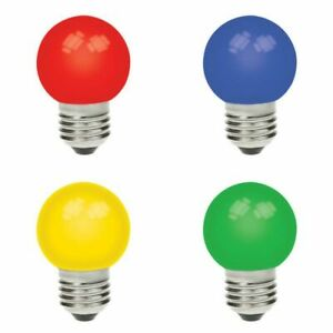 Multipack of 4 GE 15w Coloured Incandescent Golf Ball Bulbs Edison Screw Cap E27