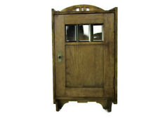 Vintage Kitchen Apothecary Bathroom Cabinet Hand Carved Wood Leaded Glass Door
