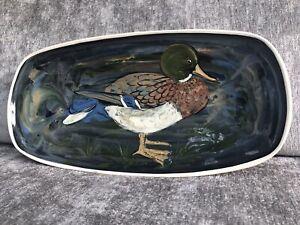 Lovely Stuart Bass Exmoor studio pottery Mallard wall plaque