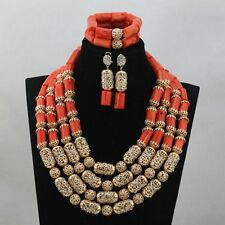 Beautiful Traditional Coral with Gold Beads Necklace Party Bridal Wedding Set