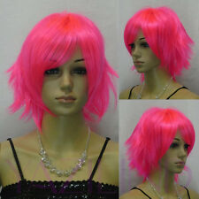 Punk Short Straight Layered Spiky Bright Pink Cosplay Full Hair Wig