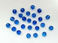 Art Deco X25 Czech Blue GLASS Faceted BEADS For NECKLACE/Craft