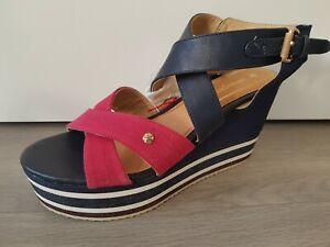 Wrangler WR579 ladies womens cross navy wedge heel open toe sandals UK 4 EU 37
