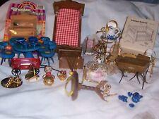 vtg miniature mini dollhouse accessories furniture lot painted wood brass dolls