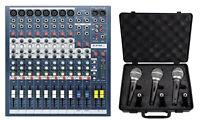 Soundcraft EPM8 8 Mono+2 Stereo Channel 2 Bus Recording/Live Mixer+3 Samson Mics
