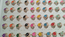 Joblot 50pcs Flower Design mixed colour Diamante Fashion Rings - NEW Wholesale