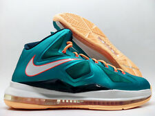 "NIKE LEBRON X ""MIAMI DOLPHINS"" ATOMIC TEAL/ORANGE SIZE MEN'S 8 [541100-302]"