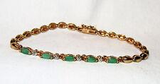 "~1 TCW Marq Natural Emerald Diamond Acct YGP 925 Sterling Silver Bracelet 8"""