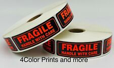 1000 1x3 Fragile Neon Red Amp Black Handle With Care Mailing Shipping Labels