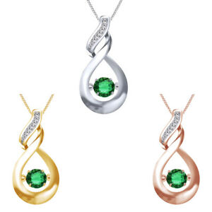 """Solitaire Dancing Gemstone Emerald Infinity Pendant Sterling Silver 18"""" Chain"""