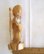 """CHINESE GOD HARD WOOD  HAND CARVED FIGURINES 6.25""""L x 2.25""""W (16 x 6 CM) VINTAGE"""