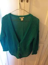 Lucky Brand women's teal green loosely woven sweater with asymmetrical hemline s
