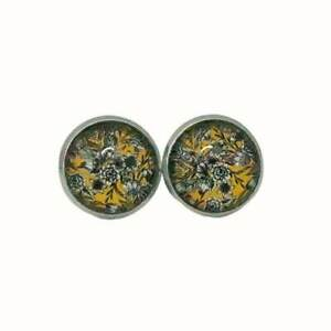 ROUND STAINLESS STEEL GLASS STUD EARRINGS WHITE FLOWERS ON YELLOW FLORAL
